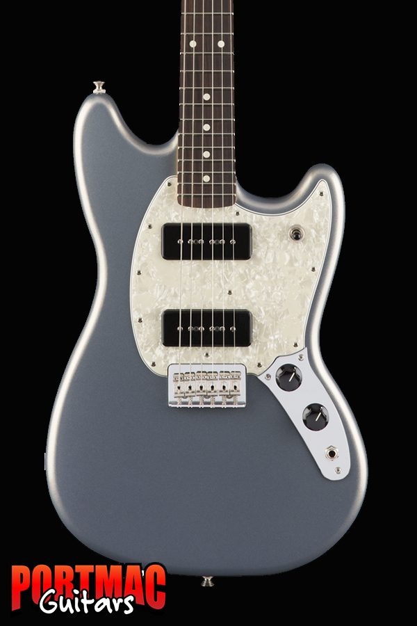Fender Mustang 90 Silver Offset Electric Guitar