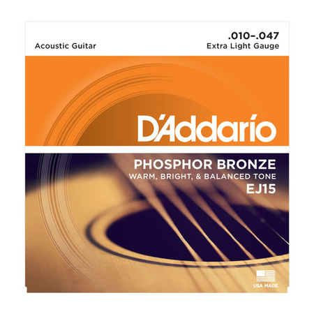 D'Addario EJ15 10Pk 10-47 Extra Light Phosphor Bronze Strings